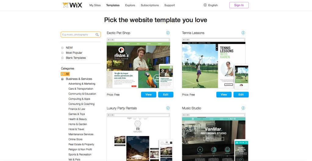 make a website using wix